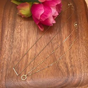 2 new gold minimalist small chain necklaces